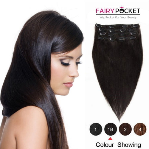 Nature Black Straight Clip In Remy Human Hair Extentions