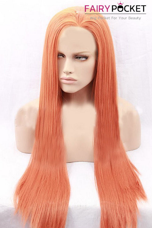 Orange Long Straight Lace Front Wig