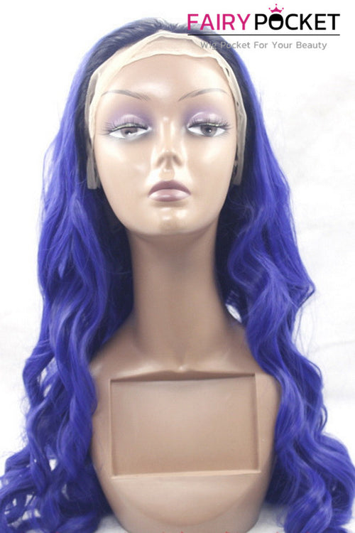 Royal Blue Long Wavy Lace Front Wig