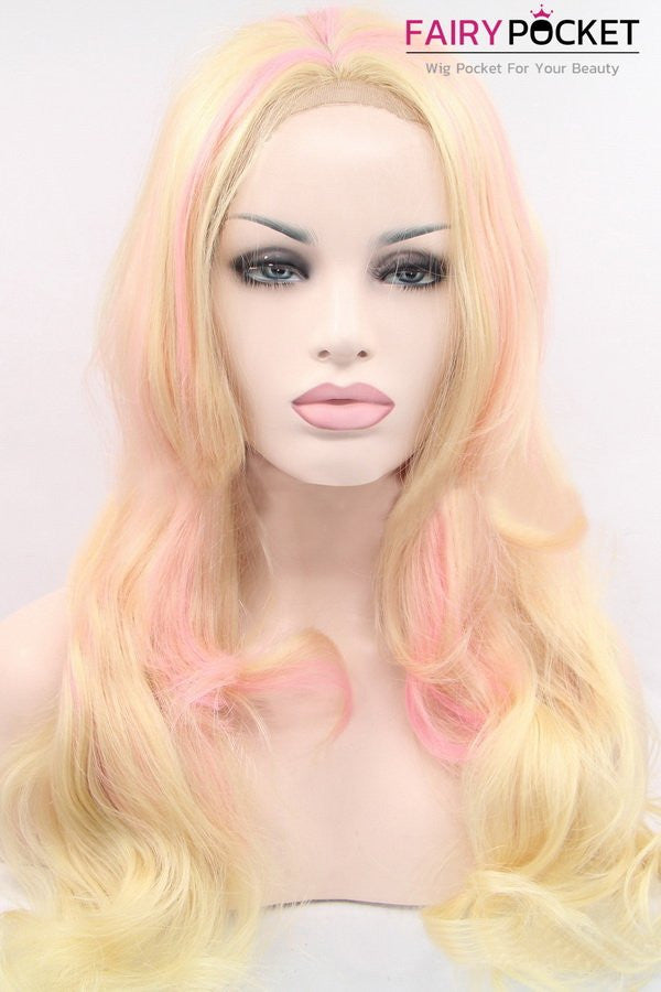 Blonde and Pink Long Wavy Balayage Lace Front Wig