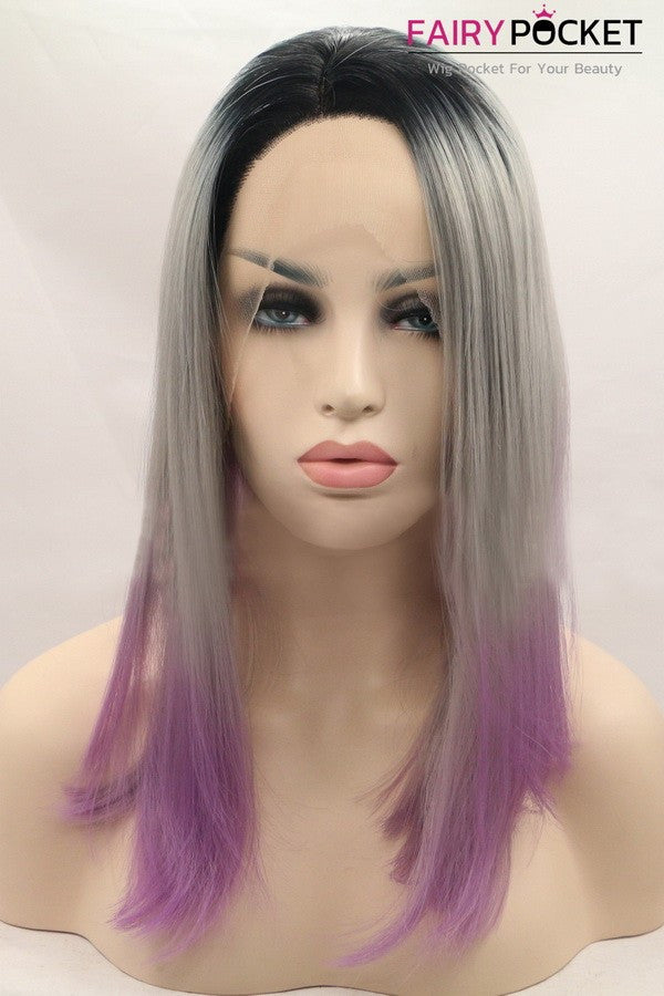 Black turns Grey to Purple Medium Straight Ombre Lace Front Wig
