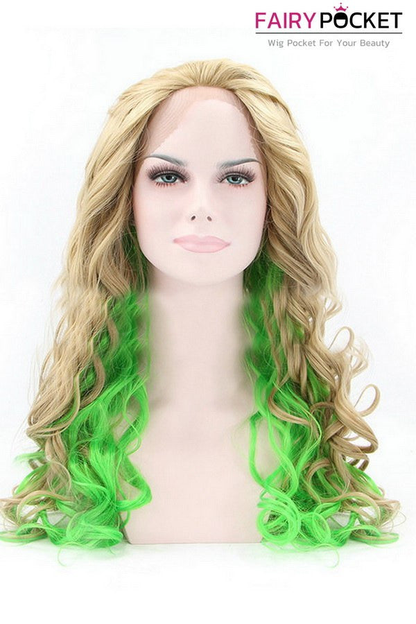 Blonde and Green Wavy Lace Front Wig