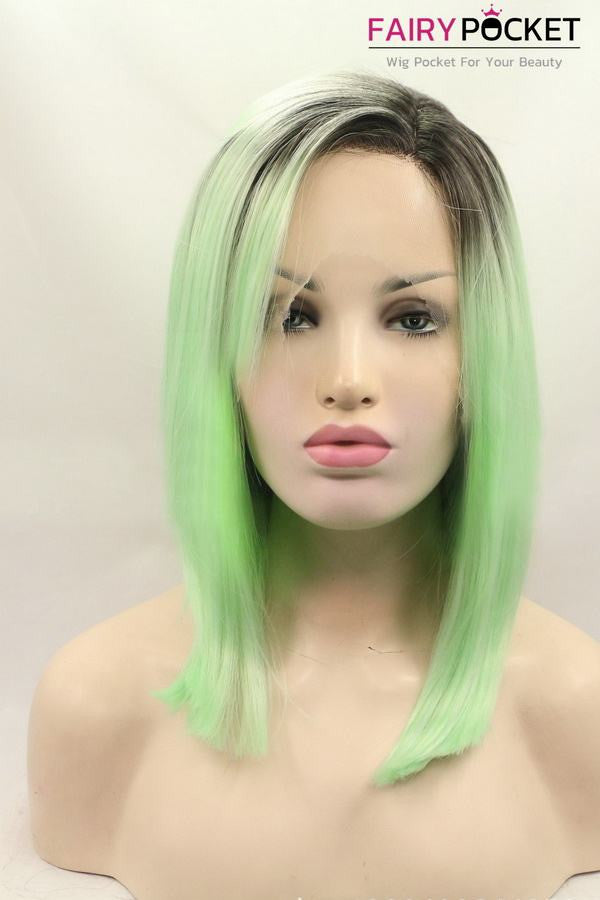 Black to Jade Green Ombre Medium Straight Lace Front Wig