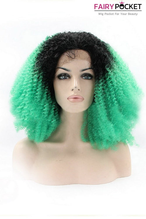 Black to Green Ombre Curly Lace Front Wig