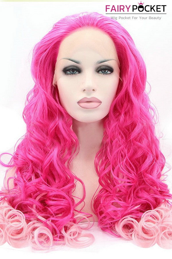 Red to Light Pink Ombre Curly Lace Front Wig