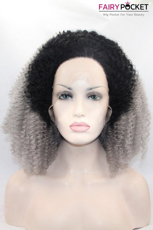 Black to Grey Ombre Curly Lace Front Wig