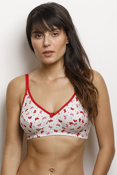 Rosaline Cotton Rich Printed Cut n Sew 3-4th Coverage Wirefree Bra- White N Print