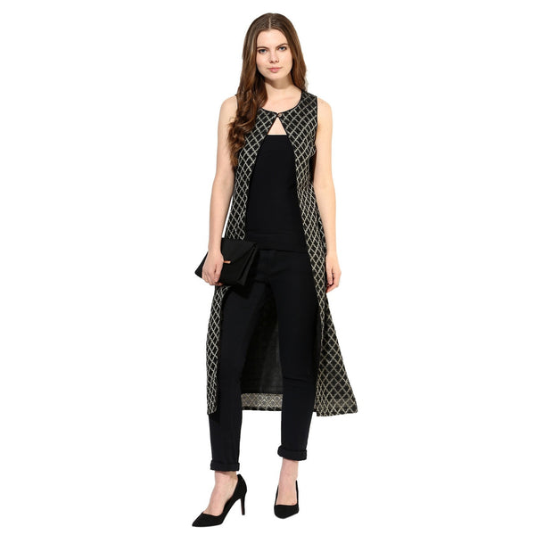 Black Printed Women's Shrug
