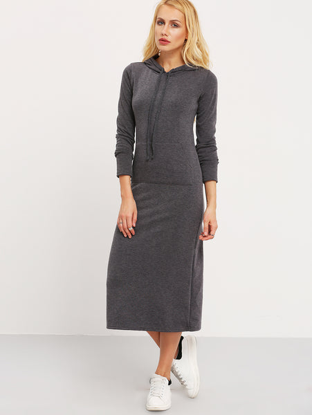 Dark Grey Hooded Long Sleeve Pockets Dress