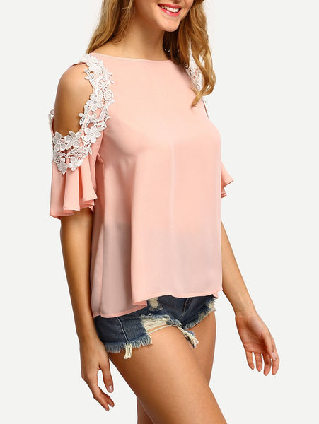 Zere Souq Contrast Crochet Trim Cold Shoulder Blouse