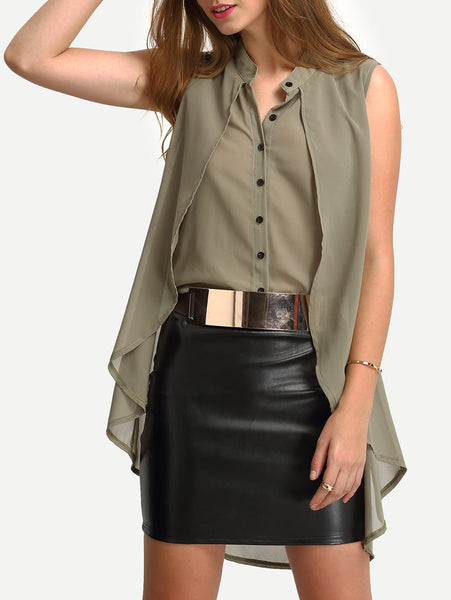 Zere Souq Collarless Layered High Low Blouse