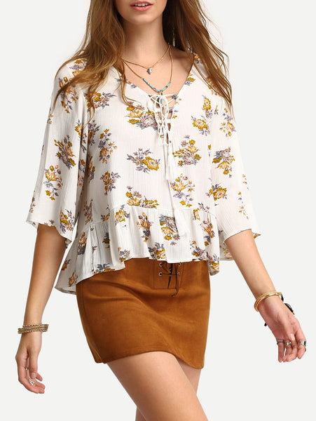 Zere Souq Calico Print Lace Up Ruffle Hem Blouse