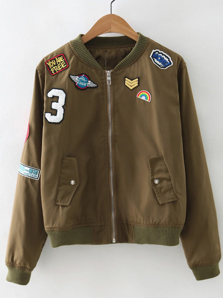 Zere Souq Zipper Front Badge Embroidery Jacket
