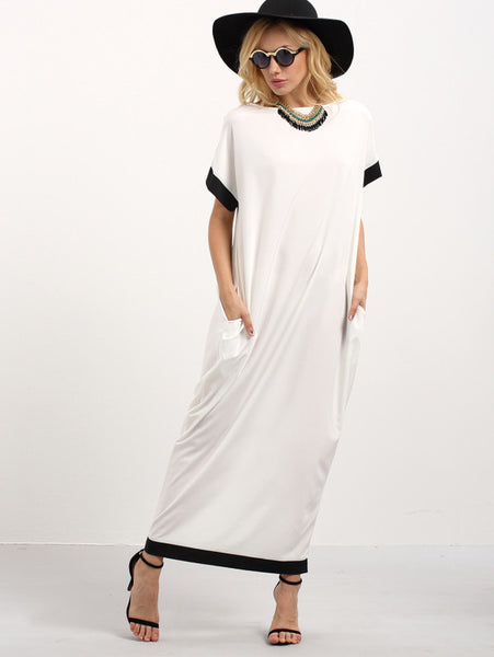 Contrast Trim Pockets Tee Dress