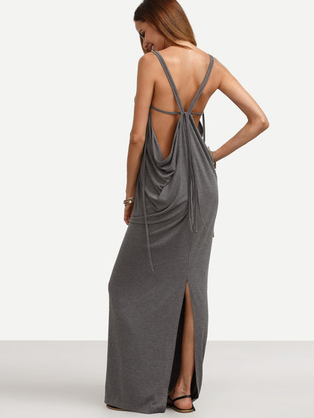 Grey Backless Split Floor Length Maxi Dress