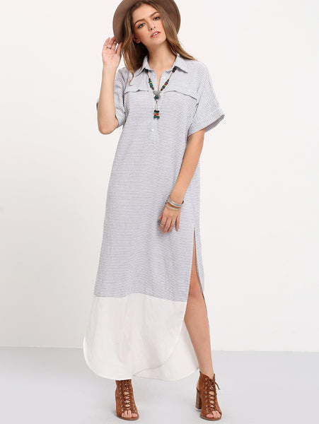 Contrast Curved Hem Polo Collar Slit Dress