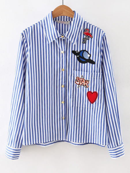 Zere Souq Contrast Striped Embroidered Patches Shirt