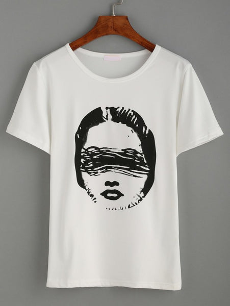 White Head Print T-Shirt