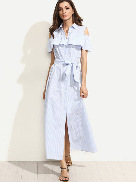 Zere Souq Open Shoulder Flounce Button Tie Waist Shirt Dress