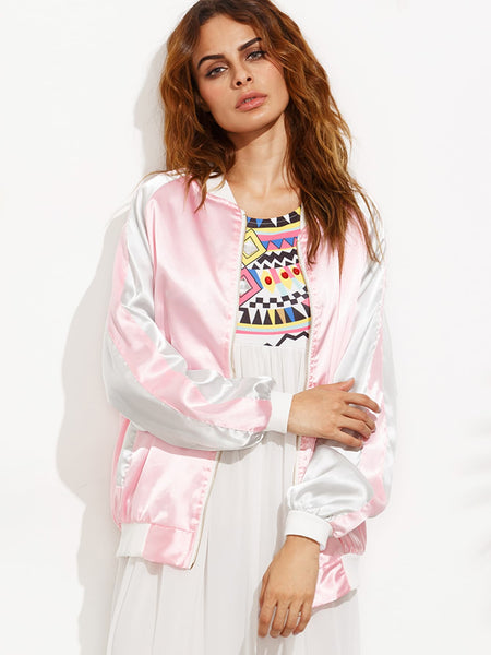 Zere Souq Pink Daisy Embroidered Raglan Sleeve Satin Baseball Jacket