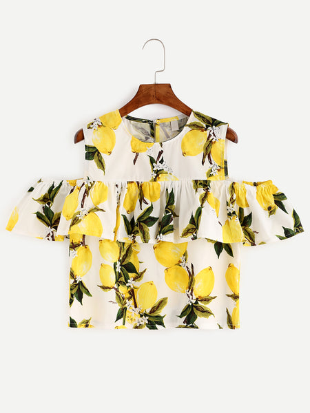 Zere Souq White Lemon Print Cold Shoulder Ruffle Top
