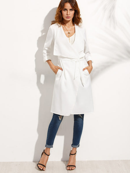 Zere Souq White Lapel With Pocket Long Outerwear