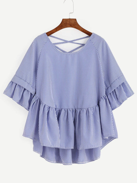 Zere Souq Blue Striped Criss Cross Back Ruffle Blouse