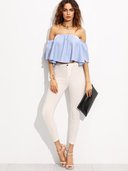 Blue Bardot Frill Crop Top