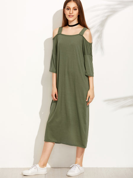 Cold Shoulder Wide Straps Tee Dress