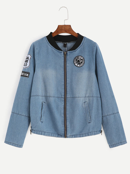 Zere Souq Contrast Ribbed Neck Embroidered Patch Detail Chambray Jacket