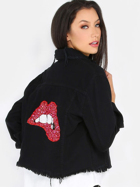 Zere Souq Sequins Lips Back Distressed Denim Jacket BLACK