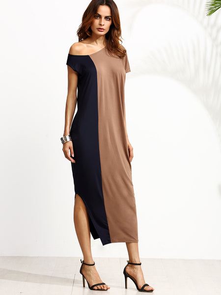 Two Tone One Shoulder Side Split Dress