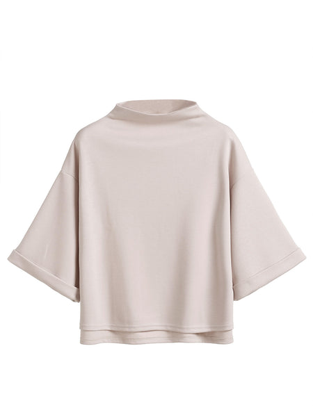 Apricot Mock Neck Cuffed Sleeve High Low T-Shirt