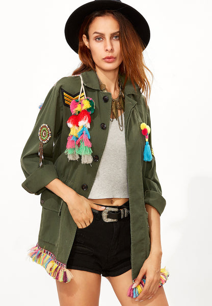 Zere Souq Olive Green Tribal Back Tassel Embellished Utility Jacket