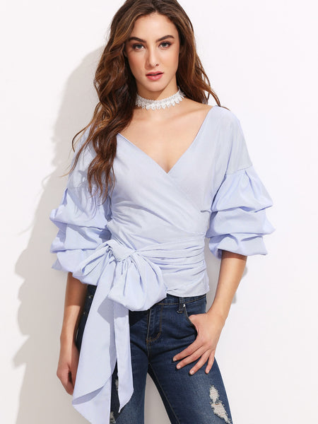 Zere Souq Pinstripe Exaggerated Sleeve Blouse With Bow Tie