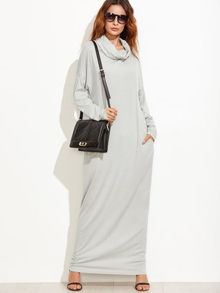 Cowl Neck Drop Shoulder Maxi Dress