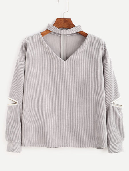 Grey V Cut Choker Neck Zipper Detail Corduroy Sweatshirt