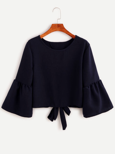 Zere Souq Bell Sleeve Bow Tie Back Blouse