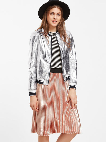 Zere Souq Metallic Silver Faux Leather Striped Trim Bomber Jacket