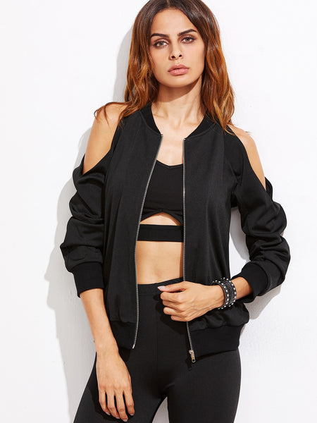 Zere Souq Cold Shoulder Zip Up Bomber Jacket