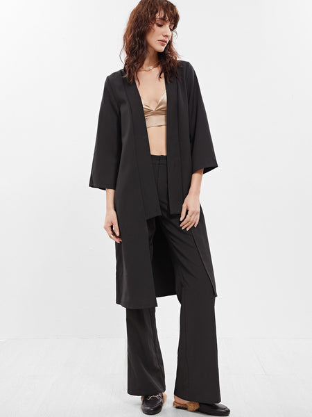 Zere Souq Black 3/4 Sleeve Collarless Duster Coat
