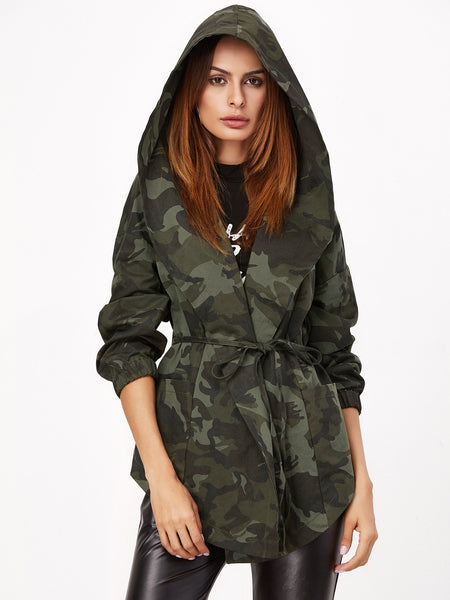 Zere Souq Olive Green Camo Print Hooded Shawl Collar Wrap Jacket