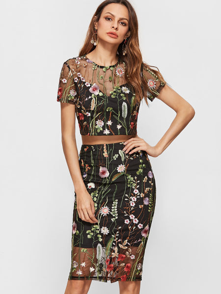 Zere Souq Embroidered Mesh Overlay Crop Top With Pencil Skirt