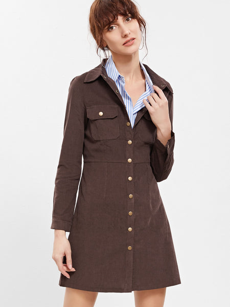 Zere Souq Brown Button Front Coat With Pockets
