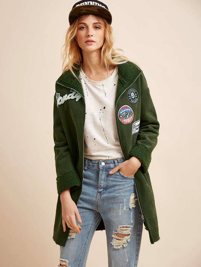 Zere Souq Green Flocked Patch Zipper Coat