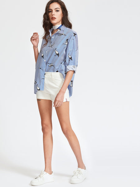Blue Pinstripe Crane Print Drop Shoulder Shirt