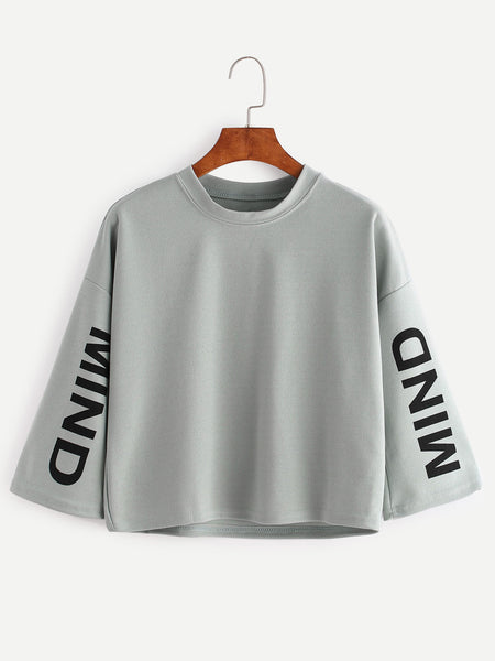 Green Letter Print Long Sleeve T-Shirt