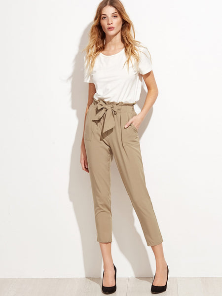 Zere Souq Tie Waist Shirred Peg Pants