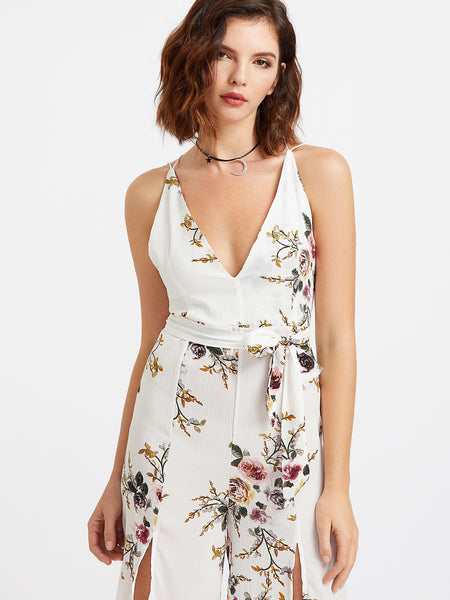 Zere Souq Plunging Self Tie M-Slit Strappy Back Florals Jumpsuit