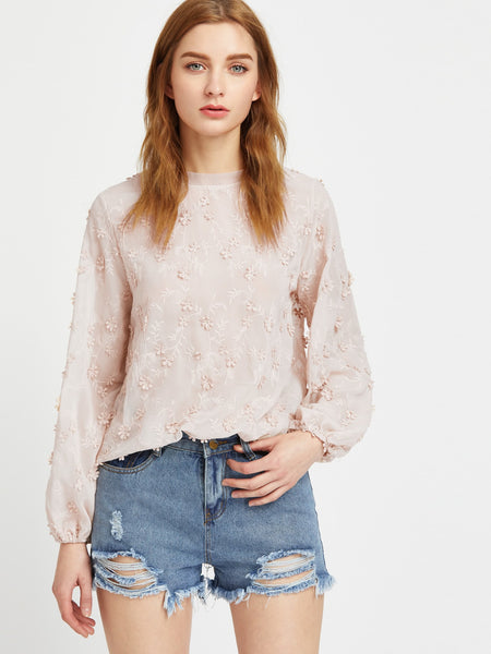 Zere Souq Lantern Sleeve Scalloped Flower Applique Embroidered Top